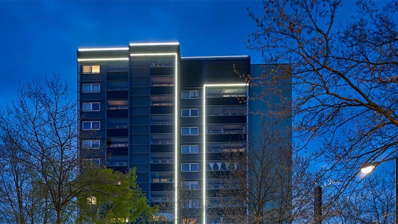 استفاده از ریسه های LED در نورپردازی نمای ساختمان