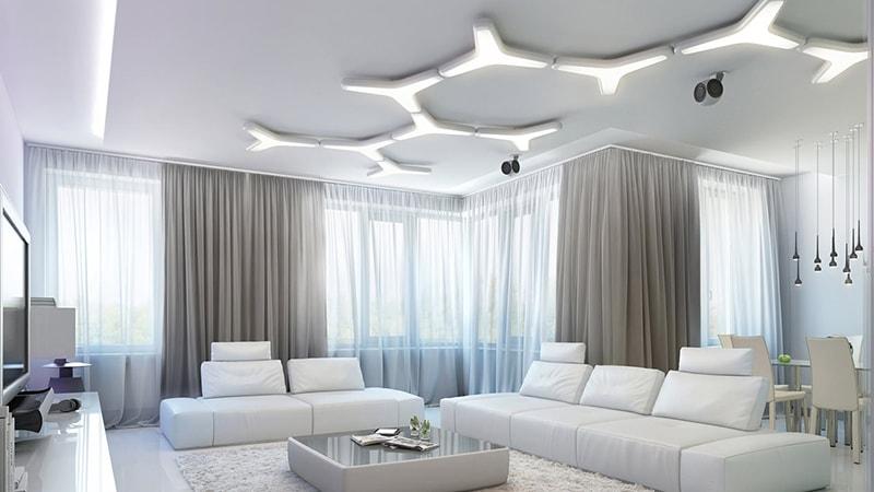 نورپردازی داخلی با پنجره های بلند